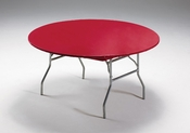 Red Stay Put Round Tablecloths sold in quantities of  1 / pkg, 12 pkgs / case