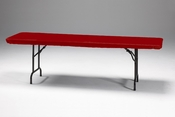 "Red Stay Put 30"" x 96"" Tablecloths sold in quantities of  1 / pkg, 12 pkgs / case"
