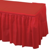 Red Plastic Tableskirt is sold in quantities of 1 / pkg, 6 pkgs / case