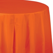 Touch of Color Sunkissed Orange Octy-Round Plastic Tablecloths in quantities of 1 / pkg, 12 pkgs / case