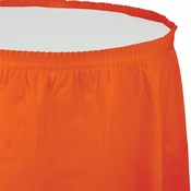 Touch of Color Sunkissed Orange Plastic Tableskirt in quantities of 1 / pkg, 6 pkgs / case