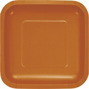 Pumpkin Spice Orange Square Dessert Plates 180 ct