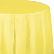 Touch of Color Mimosa Octy-Round Plastic Tablecloths in quantities of 1 / pkg, 12 pkgs / case
