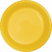 School Bus Yellow Premium Plastic Banquet Plates 600 ct
