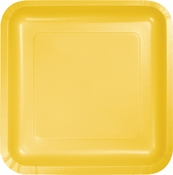 Touch of Color School Bus Yellow Square Dessert Plates in quantities of 18 / pkg, 10 pkgs / case