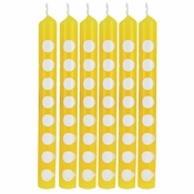 School Bus Yellow Polka Dot Candles 72 ct