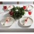 """8"""" x 4"""" Pre-rolled CaterWrap Red Ticking Stripe Dinner Napkins with EarthWise Cutlery 100 ct"""