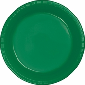 Touch of Color Emerald Green Plastic Banquet Plates in quantities of 20 / pkg, 12 pkgs / case