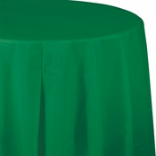Touch of Color Emerald Green Octy-Round Plastic Tablecloths in quantities of 1 / pkg, 12 pkgs / case
