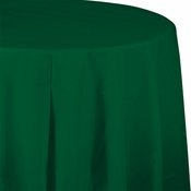 Touch of Color Hunter Green Octy-Round Plastic Tablecloths in quantities of 1 / pkg, 12 pkgs / case