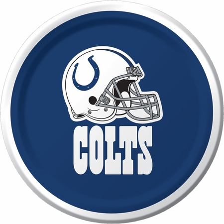 Blue and white Indianapolis Colts Dessert Plates  sold in quantities of 8 / pkg, 12 pkgs / case