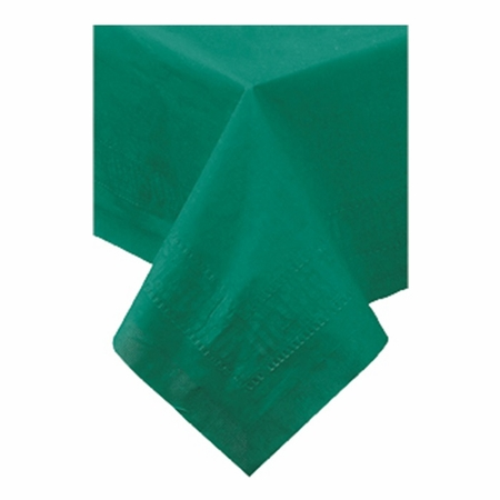 "Hunter Green Cellutex 54"" x 108"" Paper Tablecloths constructed of 2 ply tissue, 1 ply poly and sold in quantities of 1 / pkg, 25 pkgs / case"