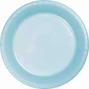 Touch of Color Pastel Blue Plastic Banquet Plates in quantities of 20 / pkg, 12 pkgs / case