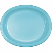 Pastel Blue Oval Platters sold in quantities of 8 / pkg, 12 pkgs / case.