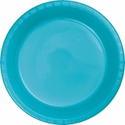 Touch of Color Bermuda Blue Plastic Banquet Plates 240 ct in quantities of 20 / pkg, 12 pkgs / case
