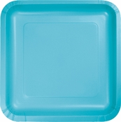 Touch of Color Bermuda Blue Square Dessert Plates 180 ct in quantities of 18 / pkg, 10 pkgs / case