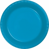 Touch of Color Turquoise Plastic Banquet Plates in quantities of 20 / pkg, 12 pkgs / case