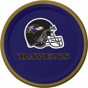 Purple and gold Baltimore Ravens Dessert Plates are sold 8 / pkg, 12 pkgs / case
