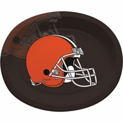 Orange and brown Cleveland Browns Oval Platters are sold 8 / pkg, 12 pkgs / case