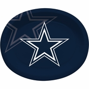 Blue and silver Dallas Cowboys Oval Platters are sold 8 / pkg, 12 pkgs / case
