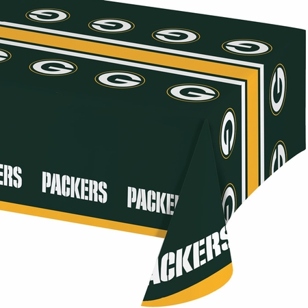 Green and gold Green Bay Packers Tablecloths are sold 1 / pkg, 12 pkgs / case