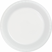 Touch of Color White Plastic Banquet Plates in quantities of 20 / pkg, 12 pkgs / case
