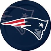 Red, white and blue New England Patriots Dinner Plates are sold 8 / pkg, 12 pkgs / case