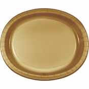 Glittering Gold Oval Platters sold in quantities of 8 / pkg, 12 pkgs / case.