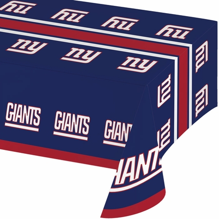 Blue, red and white New York Giants Tablecloths sold in quantities of 1 / pkg, 12 pkgs / case