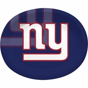Blue, red and white New York Giants Oval Platters sold in quantities of 8 / pkg, 12 pkgs / case