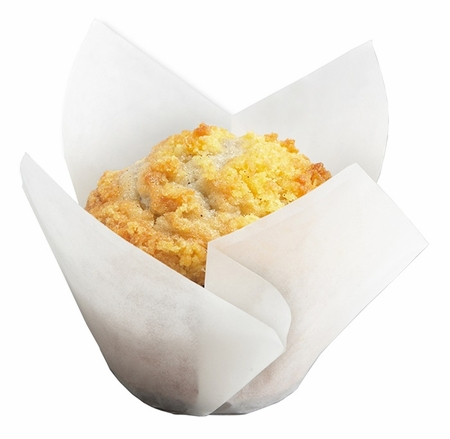 Solid colored greaseproof paper Small White Tulip Cup sold in bulk 2500 count cases of 4/pkg, 250 pkgs/case.