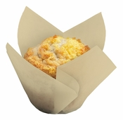 Beige colored greaseproof paper Small Natural Tulip Cup sold in bulk 1000 count cases of 4/pkg, 250 pkgs/case.