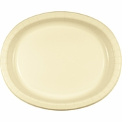 Ivory Oval Platters sold in quantities of 8 / pkg, 12 pkgs / case.