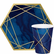 Navy Blue And Gold Geode Party Supplies