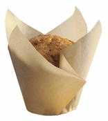 Beige colored greaseproof paper Large Natural Tulip Cup sold in bulk 1000 count cases of 4/pkg, 250 pkgs/case.