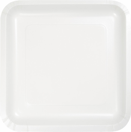 Touch of Color White Square Dessert Plates in quantities of 18 / pkg, 10 pkgs / case