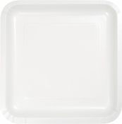Touch of Color White Square Dinner Plates in quantities of 18 / pkg, 10 pkgs / case