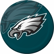 Midnight green, black and white Philadelphia Eagles Dinner Plates sold in quantities of 8 / pkg, 12 pkgs / case