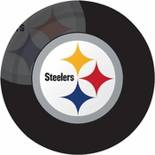 Black, white and gold Pittsburgh Steelers Dinner Plates sold in quantities of 8 / pkg, 12 pkgs / case