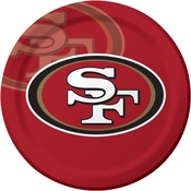 Red, gold and white San Francisco 49ers Dinner Plates sold in quantities of 8 / pkg, 12 pkgs / case