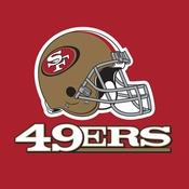 Red, gold and white San Francisco 49ers Luncheon Napkins sold in quantities of 16 / pkg, 12 pkgs / case