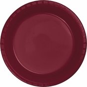 Touch of Color Burgundy Plastic Banquet Plates in quantities of 20 / pkg, 12 pkgs / case