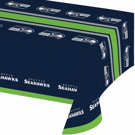 Blue and silver Seattle Seahawks Tablecloths sold in quantities of 1 / pkg, 12 pkgs / case
