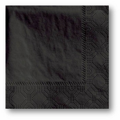 2-ply Decorator Black Beverage Napkins in quantities of 250 / pkg, 4 pkgs / case