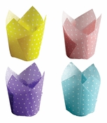 White polka dots on pastel blue, pink, lavender and yellow greaseproof paper Dot Tulip Medley cupcake wrapper sold in 500 count quanitities of 125/pkg, 4pkgs/case.