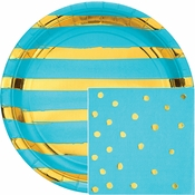 Bermuda Blue and Gold Foil Party Supplies