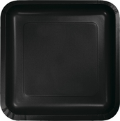 Touch of Color Black Velvet Square Dinner Plates in quantities of 18 / pkg, 10 pkgs / case
