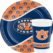 Cheer for the home team using our high quality and bulk priced collegiate items like Auburn Tableware in orange and navy blue.