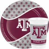 Cheer for the home team using our high quality and bulk priced collegiate items like Texas A&M Tableware in maroon and white.