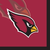 Red and black Arizona Cardinals Beverage Napkins are sold 16 / pkg, 12 pkgs / case